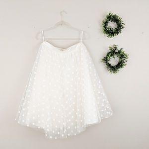 Ivory Cream Velvet Polkadot Tulle Skirt Tutu L/XL